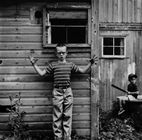 untitled (boy making gesture) [michael and christopher] by ralph eugene meatyard